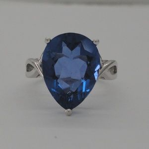 Sterling 9CT Pear Cut Lab Tanzanite Solitaire Ring
